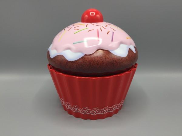 """Design Geschenk / Schmuck / Deko Box """"Cupcake"""", rot, Metall, Ø183 x H206 mm"""